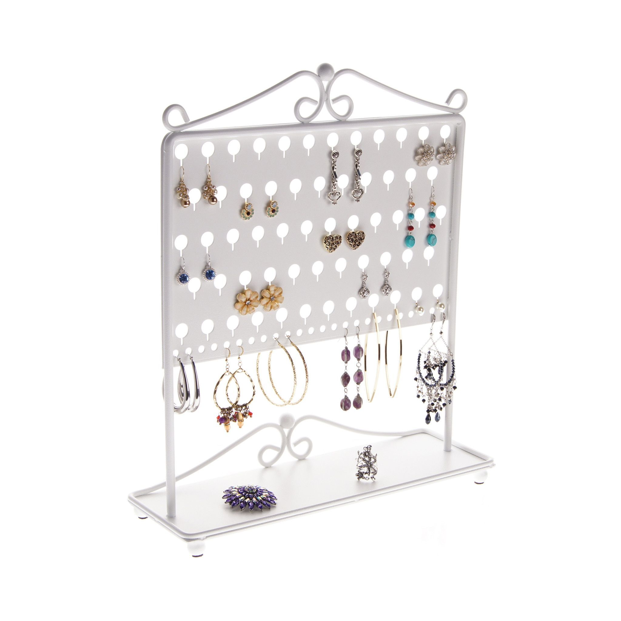 Wall Hanging Jewelry Rack Earrings Ear Studs Jewelry Display Metal Stand Wall Type Necklace Bracelets Organizer Holder Bronze Hanger Furniture Life