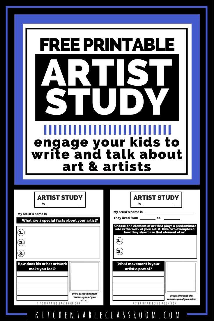 Photo of Artist Study Worksheets-Talking & Writing about Art with Kids – The Kitchen Table Classroom
