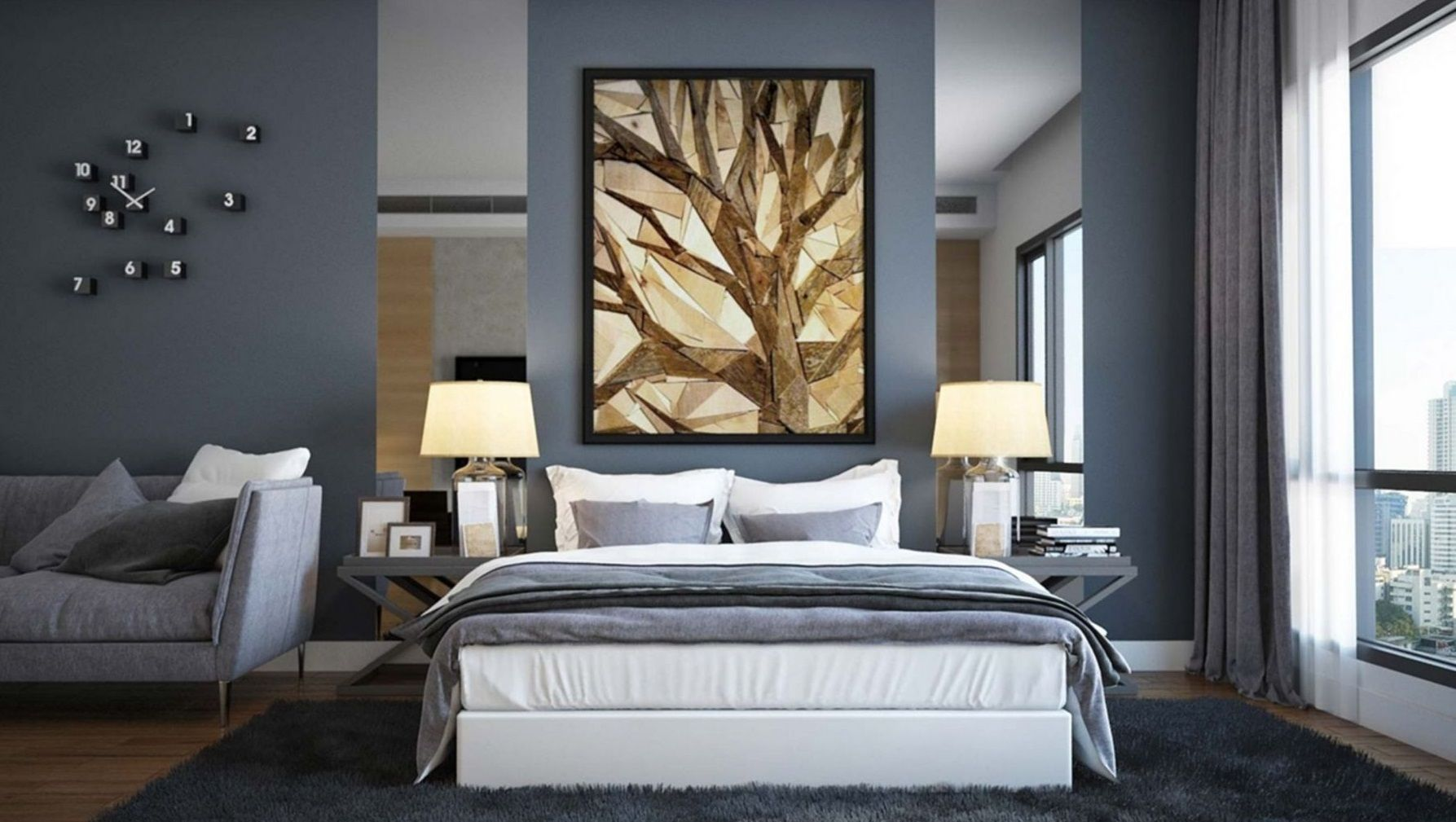 10 Astonishing Bedroom Design Ideas On A Budget Slate Blue Bedrooms Simple Bedroom Design Grey Bedroom Design