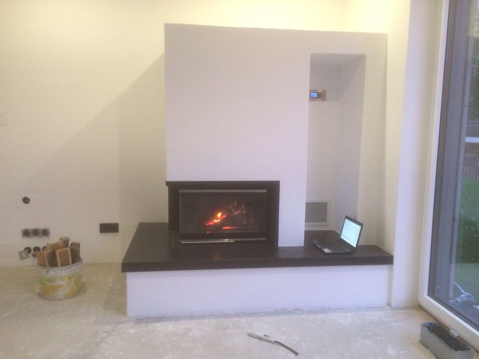 das vollendete kaminprojekt gebaut aus unseren w rmed mmplatten und mit ofenputz versiegelt. Black Bedroom Furniture Sets. Home Design Ideas