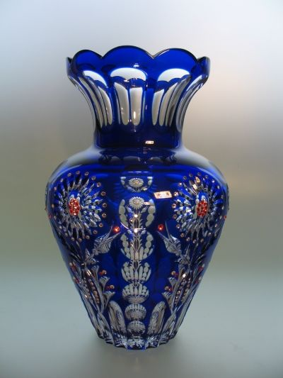 Cobalt Blue Vase Swarovski Decorated Lead Crystal Eminences Vases