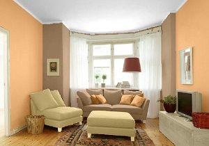 Farbgestaltung für ein Wohnzimmer in den Wandfarben: Papaya/Toffee ...