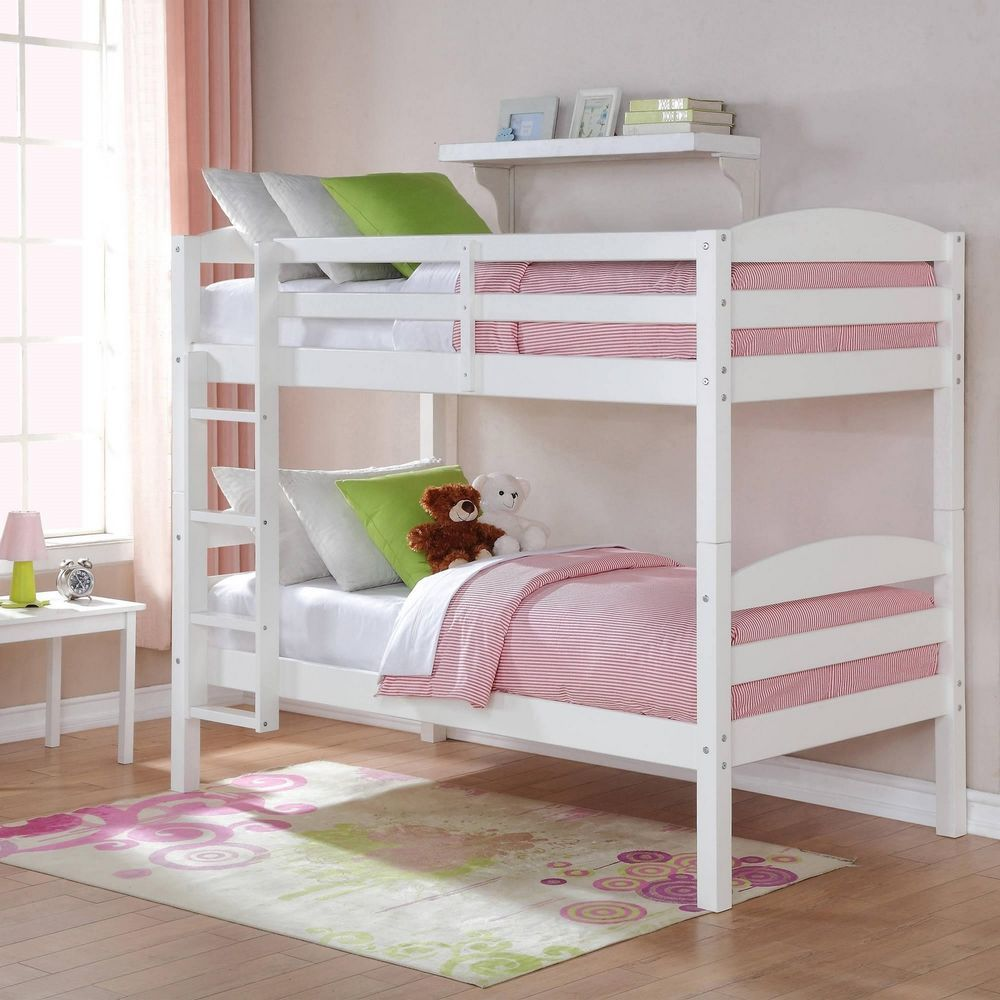 White Twin Over Twin Double Deck Bed Wood Bunk Bed With