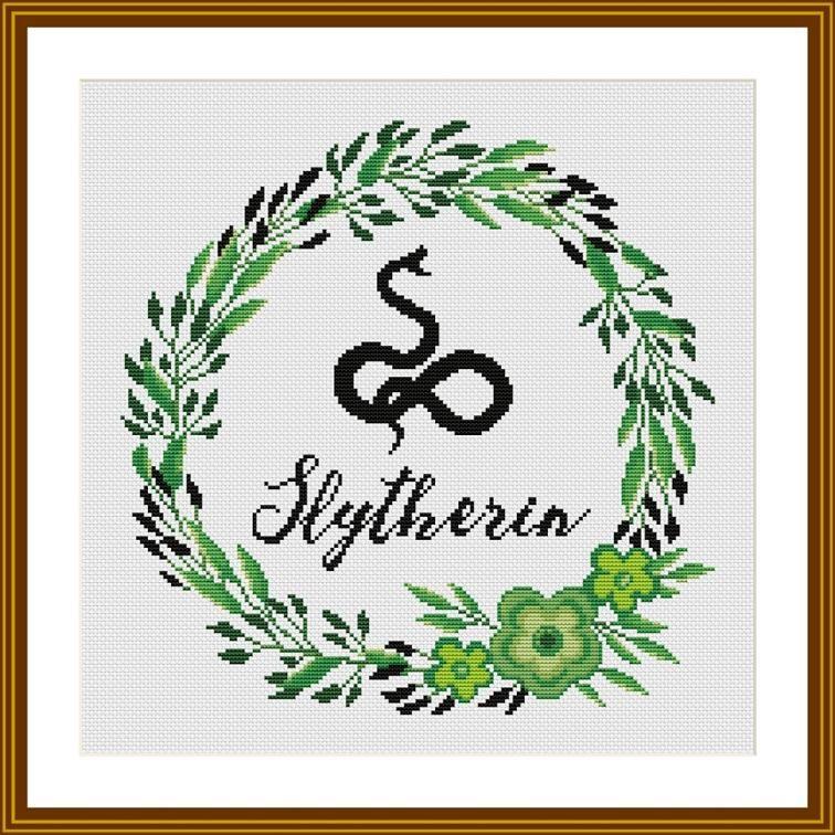 Slytherin Floral Harry Potter Cross stitch pattern | Cross Stitching ...
