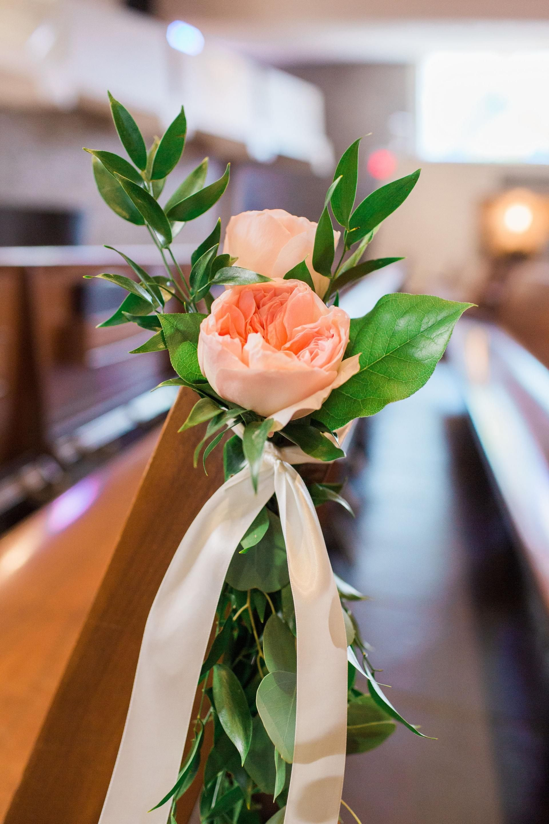 The smarter way to wed pinterest church wedding ceremony church indoor church wedding ceremony pew decor peach florals white silk ribbons thompson photography group junglespirit Image collections