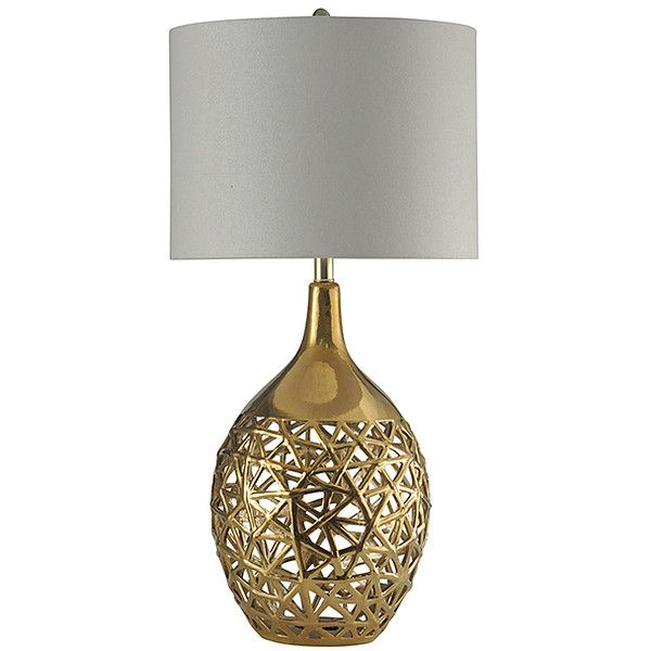 Stylecraft Gold Arela Ceramic Table Lamp 190 Liked On Polyvore Featuring Home Lighting Table Lamps Gold Table Lamp Ceramic Table Lamps Round Table Lamp