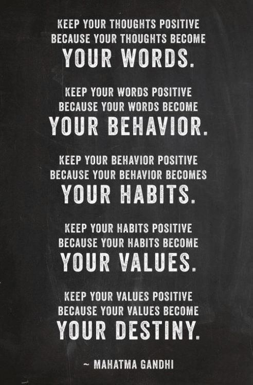 words, behavior, habits, values and destiny