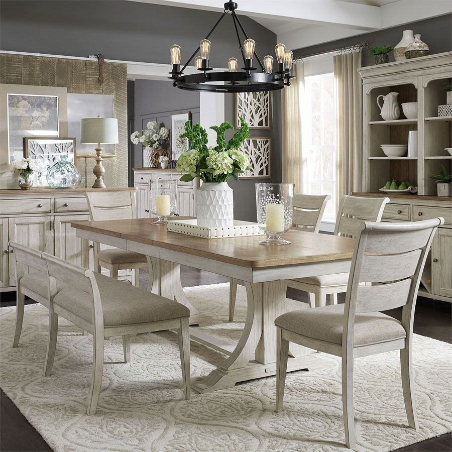 Farmhouse Reimagined Rectangular Dining Set W Upholstered Chairs