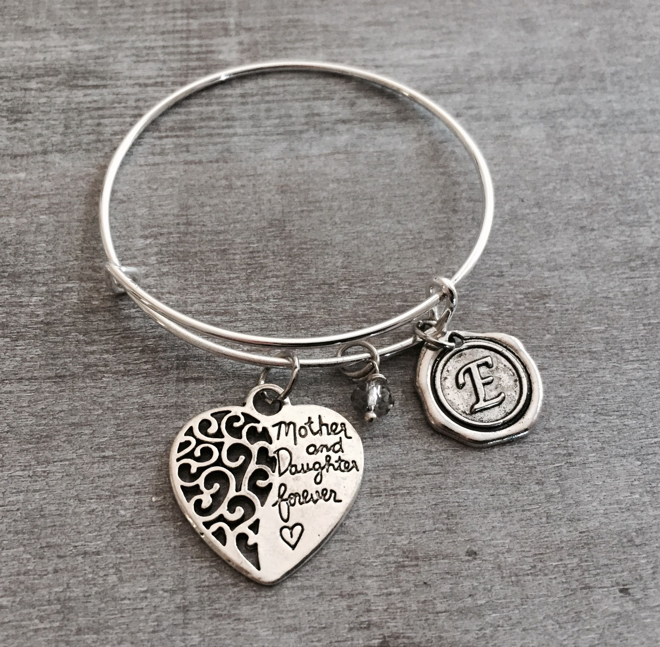 jewelry stainless bracelet heart with products charm in mother steel daughter