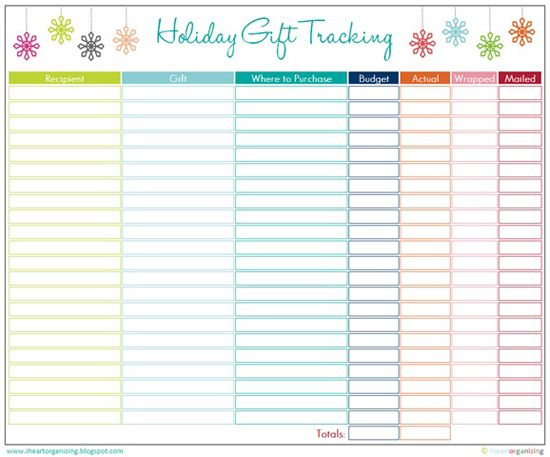 Holiday gift tracking printable spreadsheet Holiday  Gift Ideas