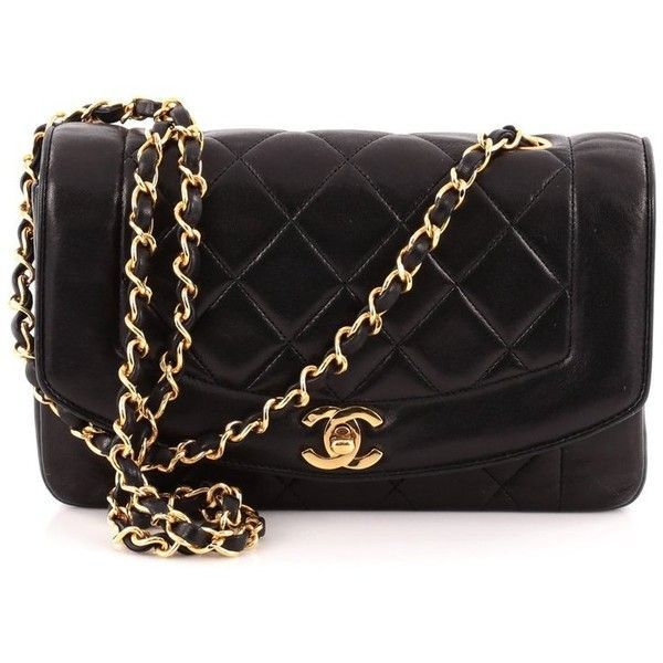 db5fa28d1e74 Chanel Vintage Diana Flap Bag Quilted Lambskin Small (1,620 CAD) ❤ liked on  Polyvore featuring bags, handbags, flap bag, lambskin leather bag, lamb  leather ...