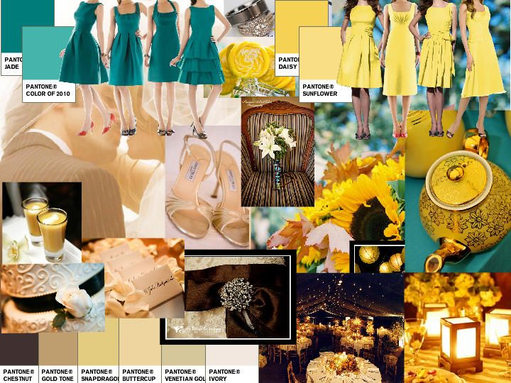 yellow and brown wedding colors | Teal, Yellow, Brown, Ivory ...