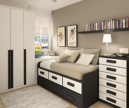 Very Small Modern Bedroom dark furniture in modern small bedroom interior design - home