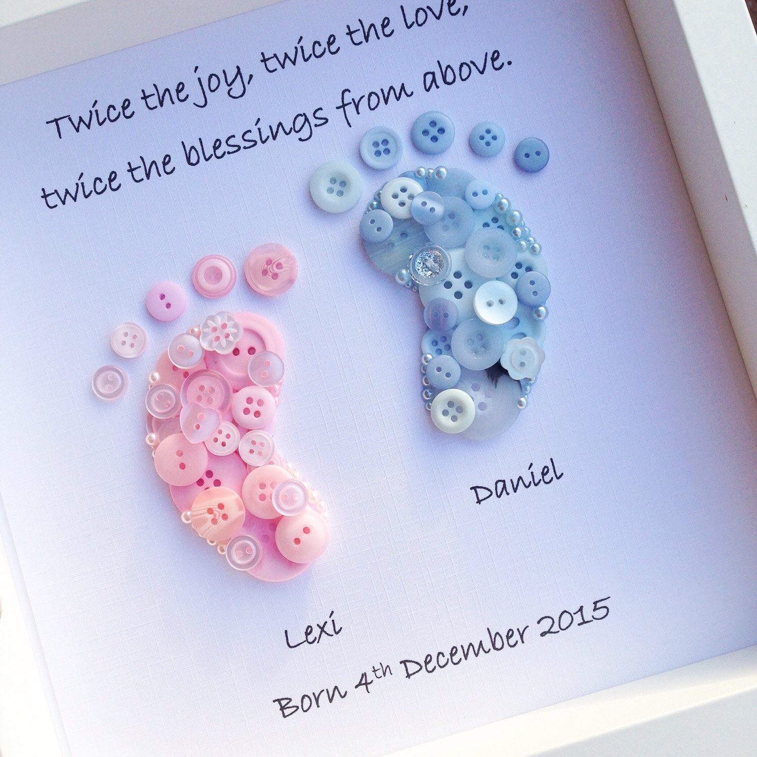 Twin personalised gift twin gift gift for twins twin baby shower twin personalised little feet twin newborn baby gift keepsake twice the joy twice the love button art button little feet twin gift by negle Gallery