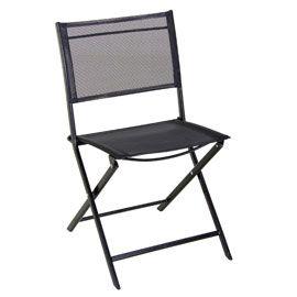 19,99€ Chaise de jardin en métal Saba noire | extérieur | Pinterest