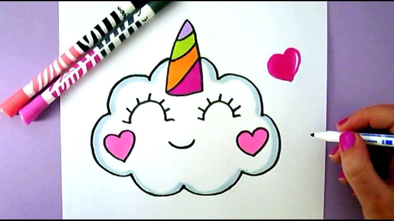 How to draw a cute kawaii unicorn cloud easy cute drawing how to draw cute drawings - Dessin a dessiner ...