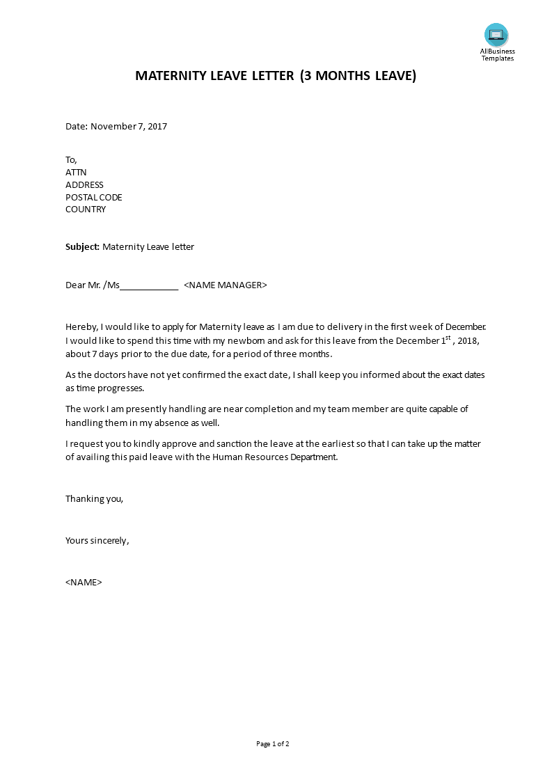 How to write a cover letter for maternity leave free business type resume