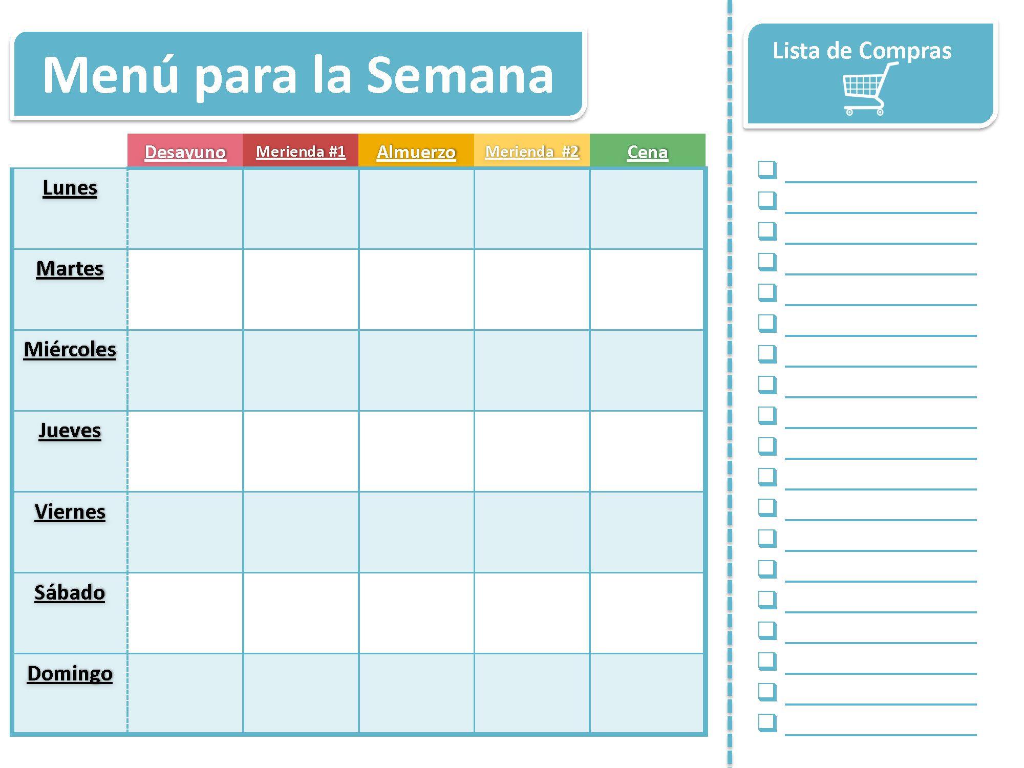 Menu semanal para planear sus comidad printable guides for Formatos y controles para restaurantes gratis