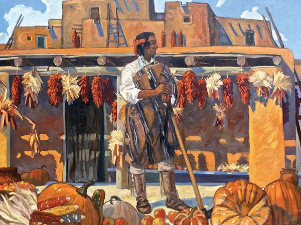 Dennis Ziemienski, Pueblo Harvest, oil, 36 x 48.