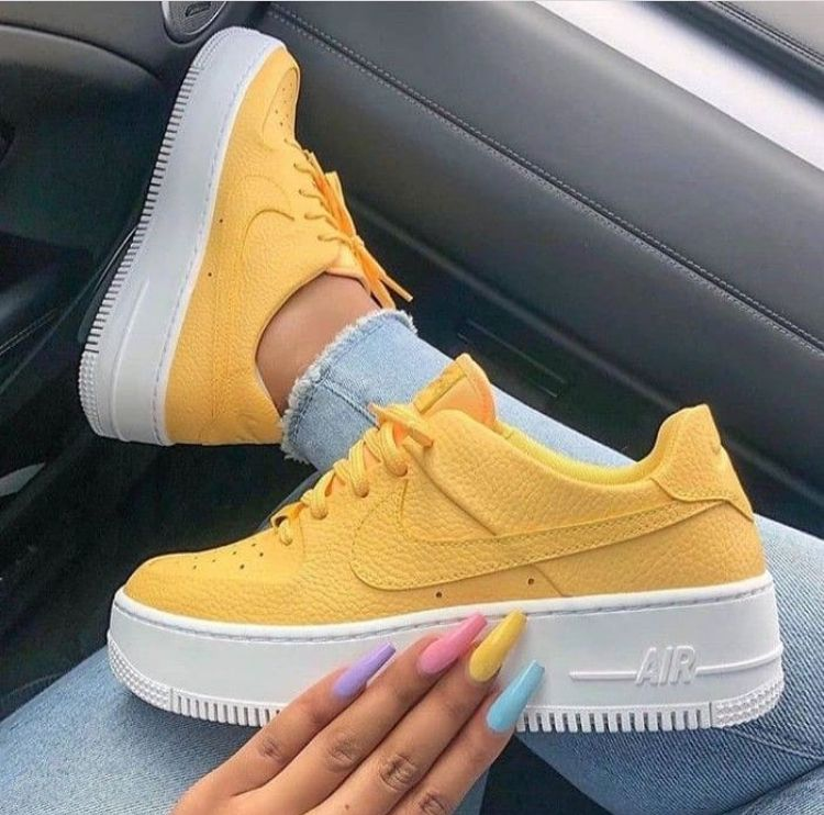 Yellow sneakers, Nike air shoes