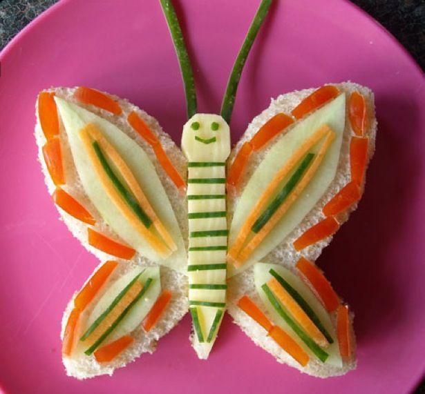 Sanduíche em formato de borboleta
