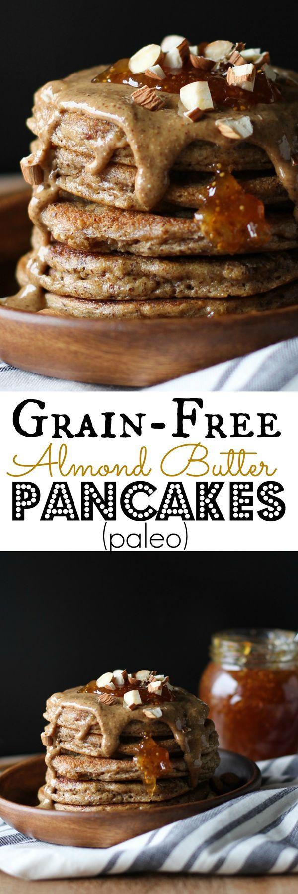 Grain-Free Almond Butter Protein Pancakes - paleo, gluten-free, and healthy   TheRoastedRoot.net #breakfast #recipe