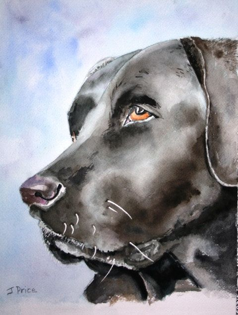 Excellent Example Of Painting A Black Dog Watercolor Dog Dog