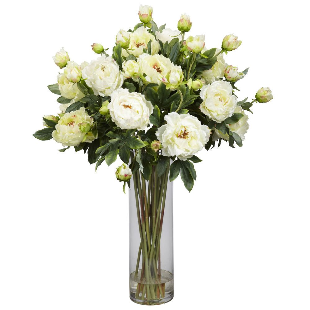 Nearly Natural Giant Peony Silk Flower Arrangement White 1231 Wh