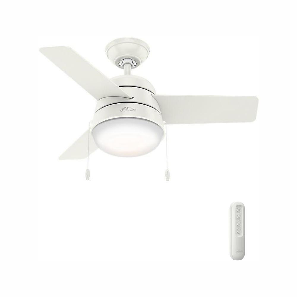 Hunter Aker 36 In Led Indoor Fresh White Ceiling Fan With Light