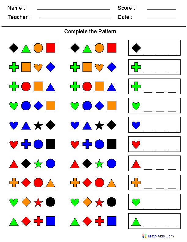 This Is A Patterns Worksheet The Student Needs To Figure Out The Pattern And Draw In The Re Math Patterns Kindergarten Worksheets Kindergarten Math Worksheets