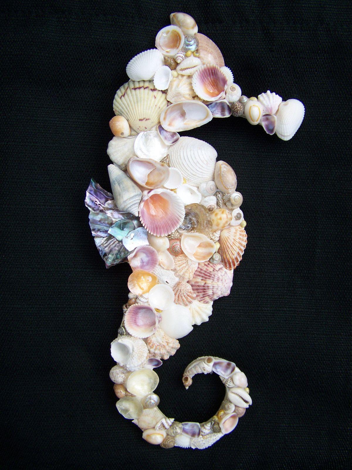 Seahorse of Seashells Beach Cottage Wall Hanging Coastal Decor | eBay--for inspiration