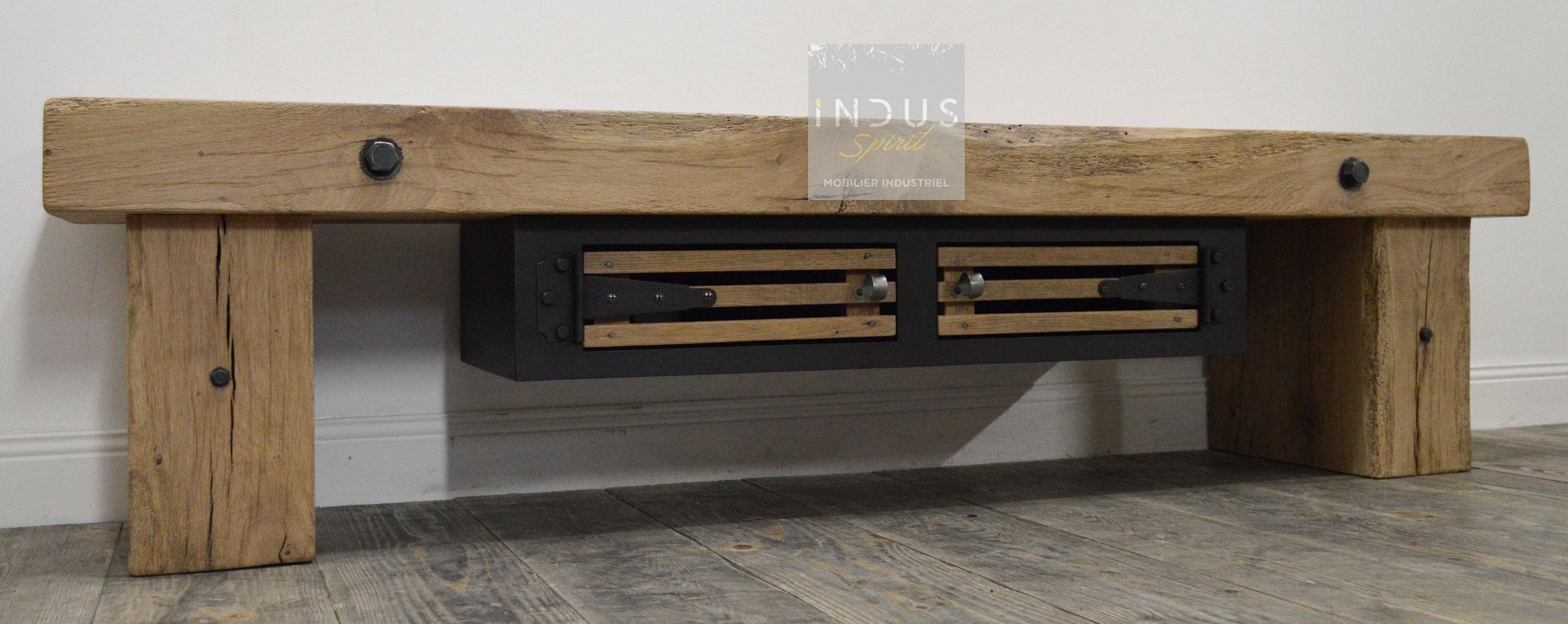 meuble tv bois et metal industriel