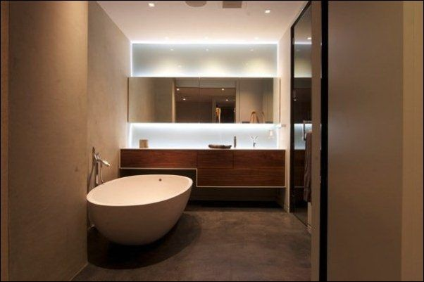 Bathroom, Charming Bathroom Lighting System Decorating Vanity Area Plus Large Mirror And Wooden Vanity: Great and Eye Catching Bathroom ligh...