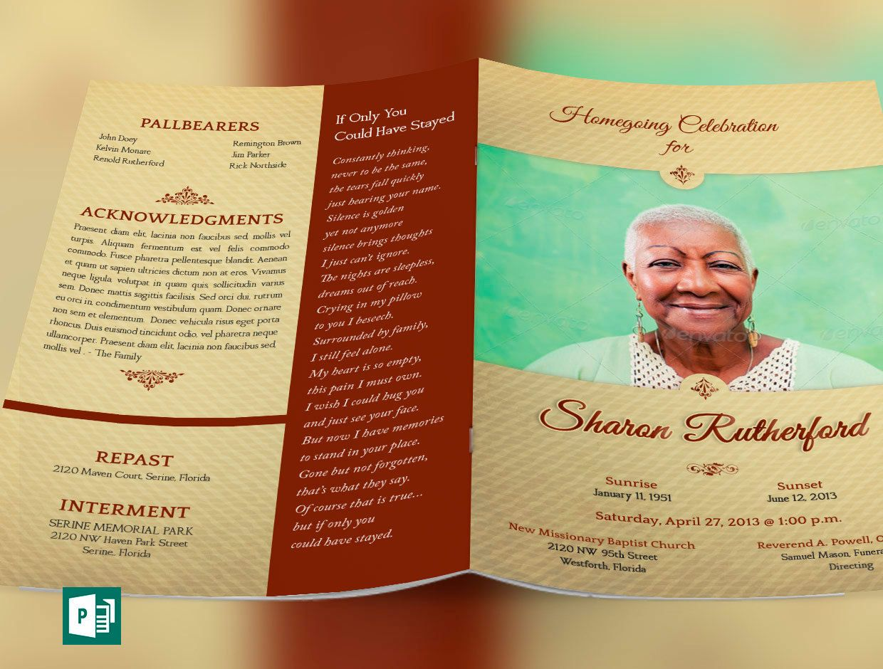Home Going Funeral Program Publisher Word Template | Microsoft ...
