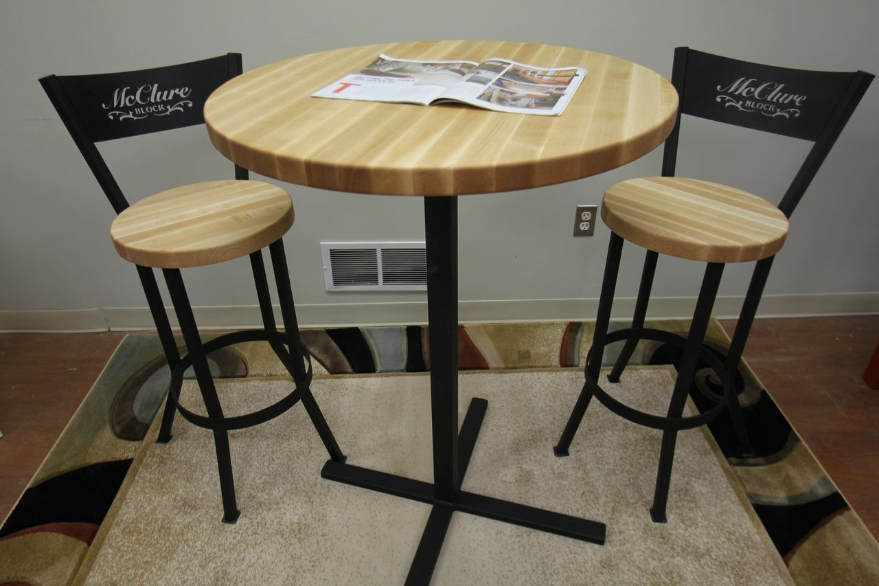 Butcher Block Pub Table With Matching Chairs By Mcclure Tables