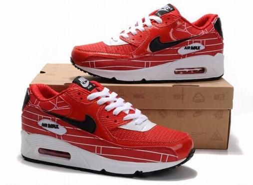 Air Max 90 Mens Shoes Cheap Wholesale Black Red Grey