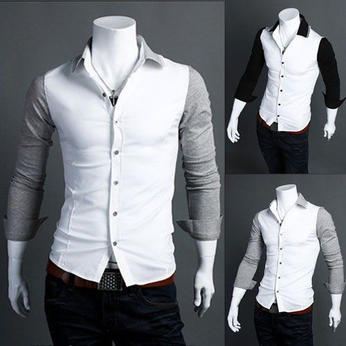 Men Color Matching Shirt Fashion Stylish Trendy Casual Designer ...