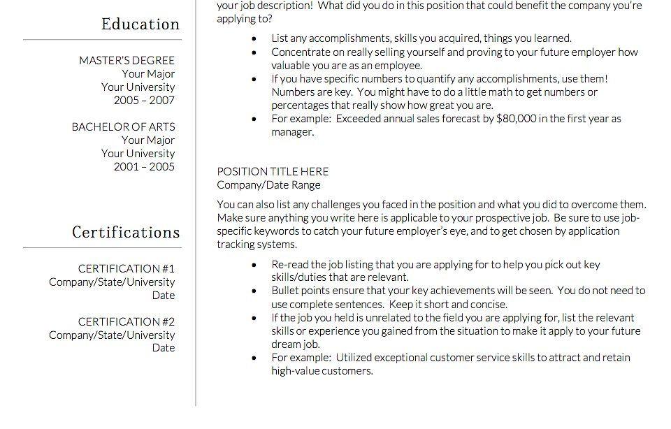 Resume Template Modern Resume Single Customize Design Page