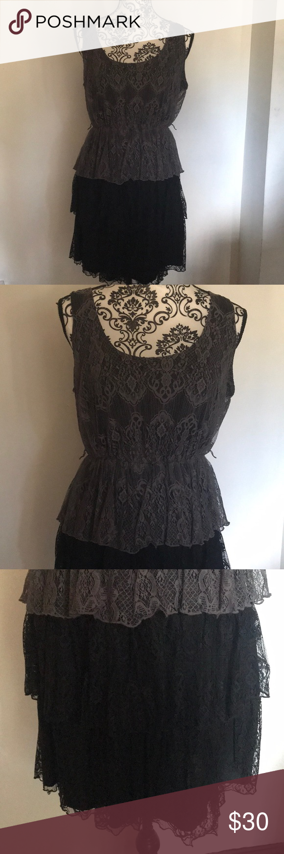 New black u gray ruffled dress boutique black ruffle ruffle dress