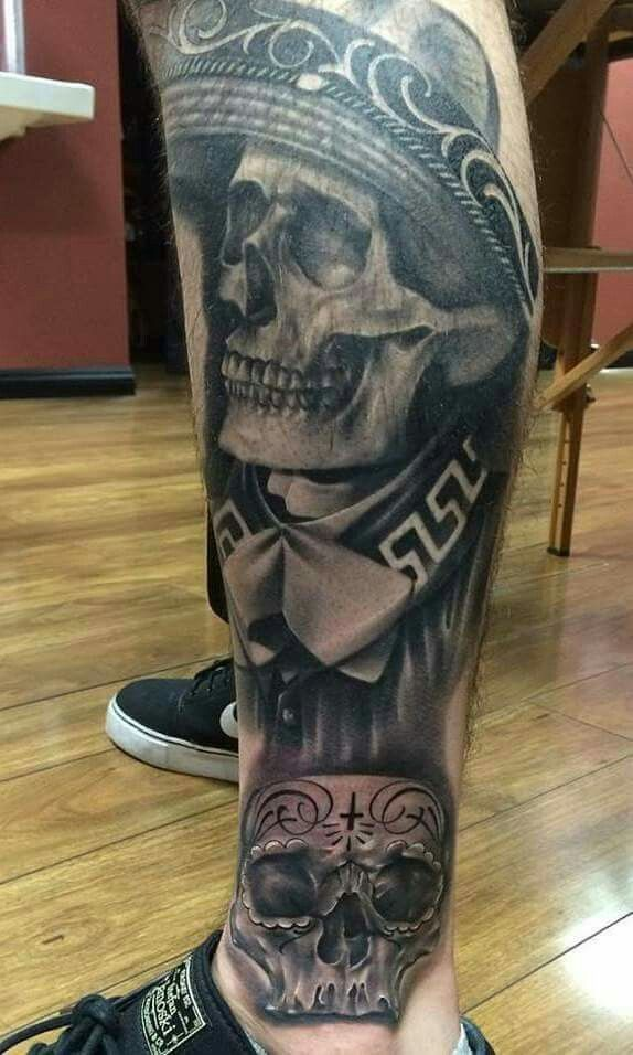 Leg Tattoo Mexican Skull Tattoos Leg Tattoos Aztec Tattoo