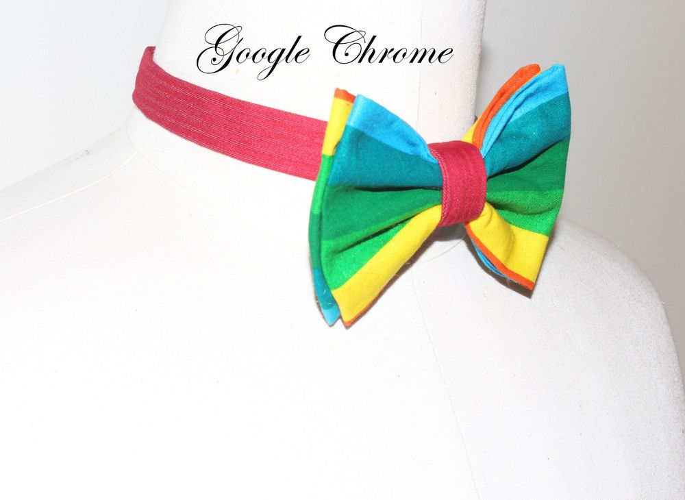 Jay Nicole's Bows Pre-tied  Cotton, Colorful Google Chrome Adjustable Neckband