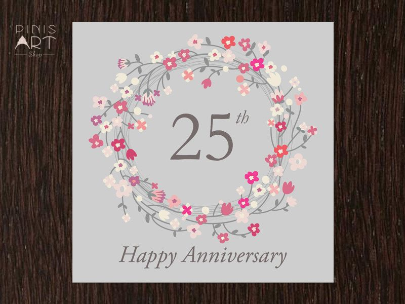 Printable 25th Anniversary Card Hand Made By Pinisartshop