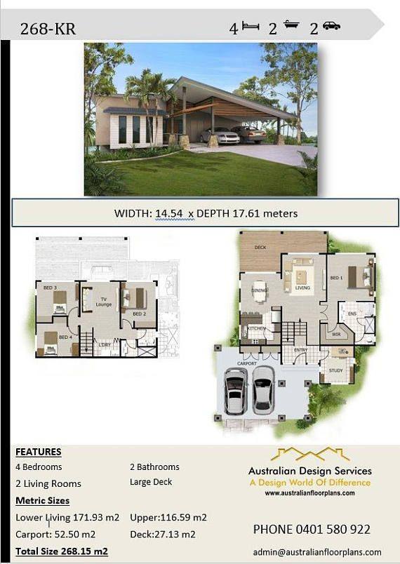 268m2 4 Bedrooms 4 Bedrooms Split Level Floor Plan 4 Etsy Porch House Plans House Plans Australia Affordable House Plans