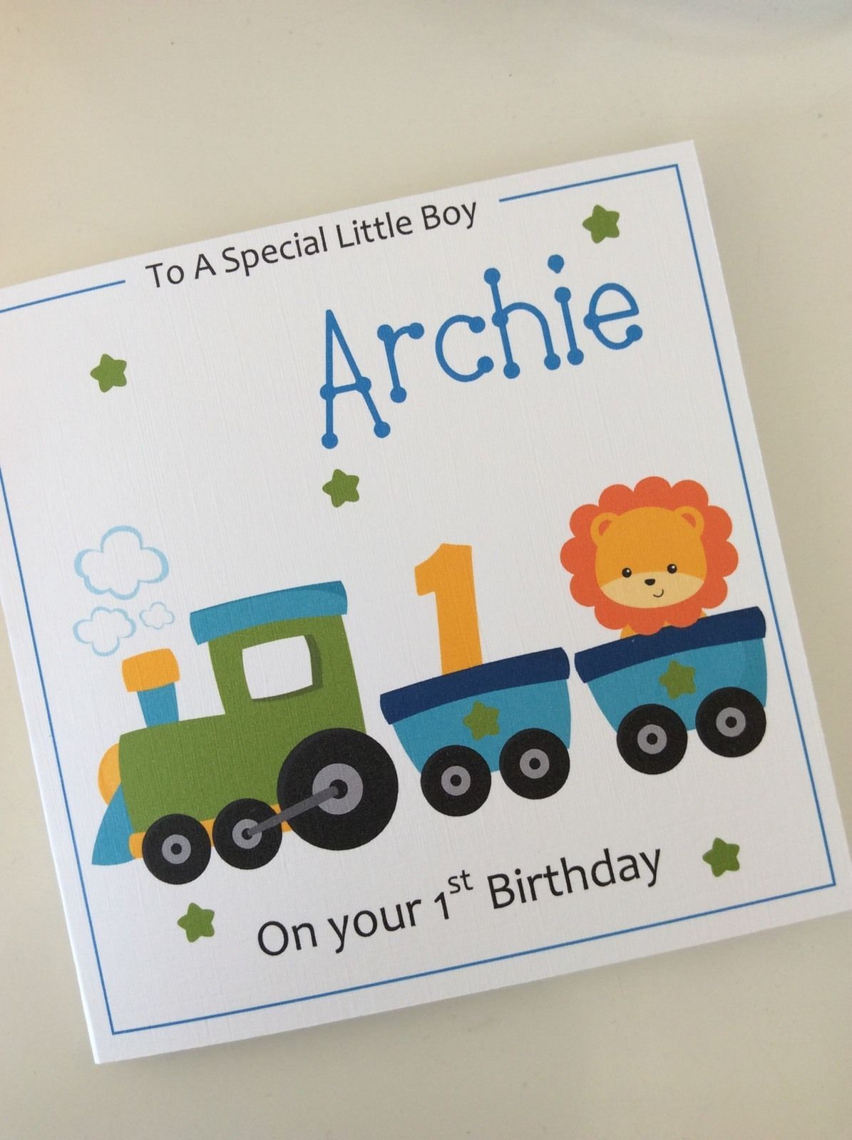 Personalised Handmade Boys Train 1st First Birthday Card Son Nephew Grandson First Birthday Cards 1st Birthday Cards Kids Birthday Cards