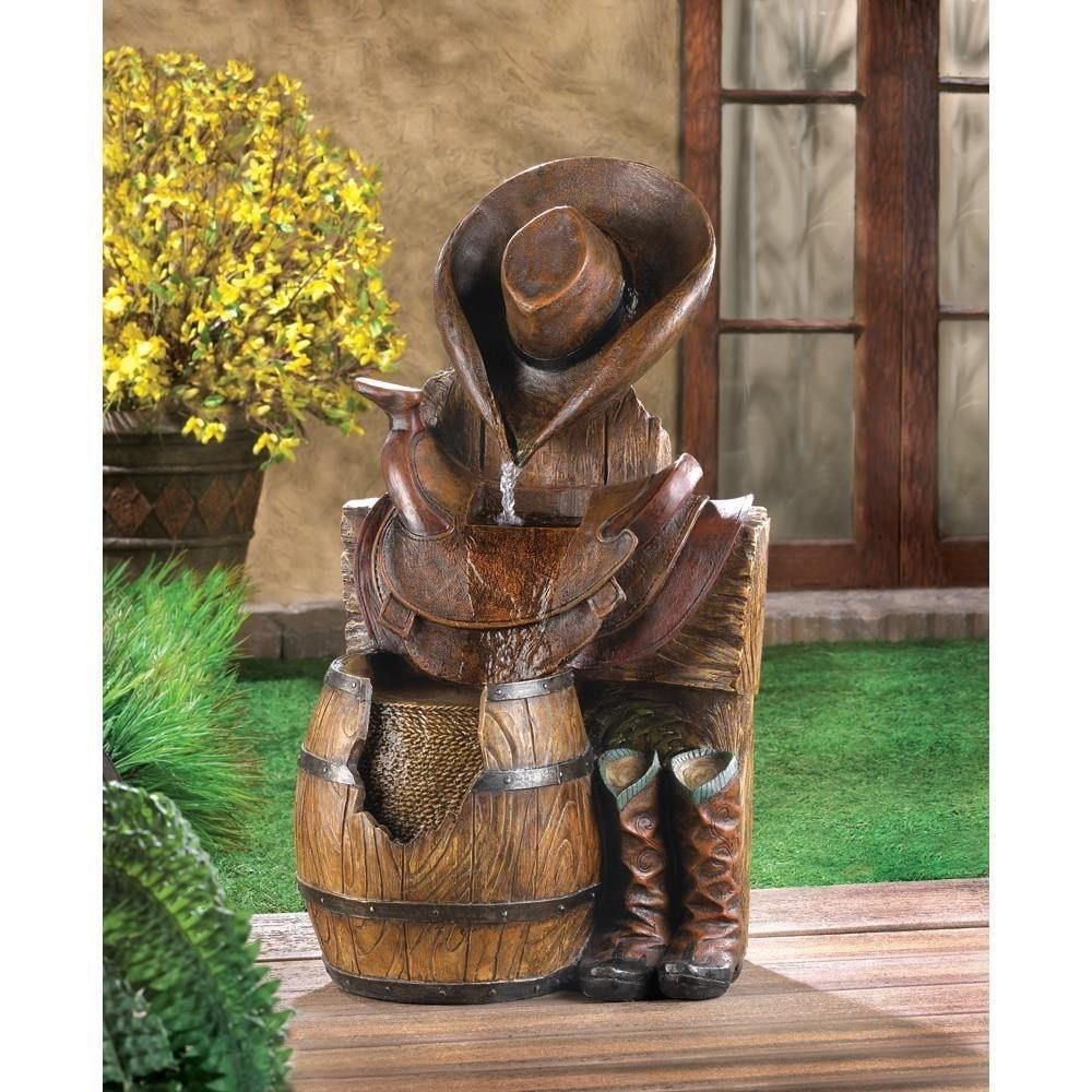 Outdoor Floor Water Fountain Rustic Wild West Electric Cowboy Atire  #WaterFountain