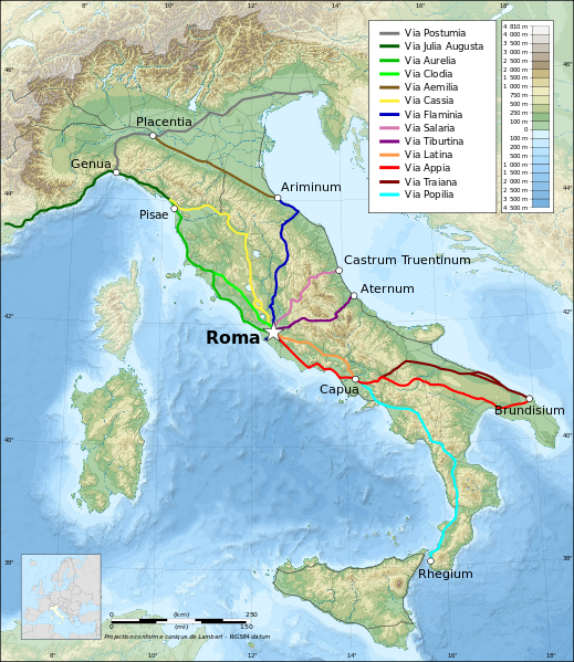 Topographic Map Of Rome.Map Italy Topographic Map Ancient Roman Roads Maps Of The Ancient