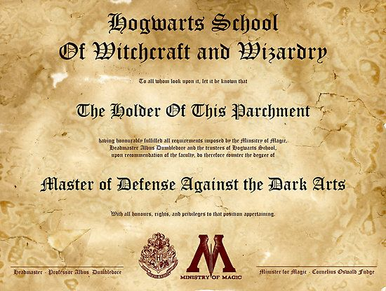 Official Hogwarts Diploma Poster Defense Against The Dark Arts