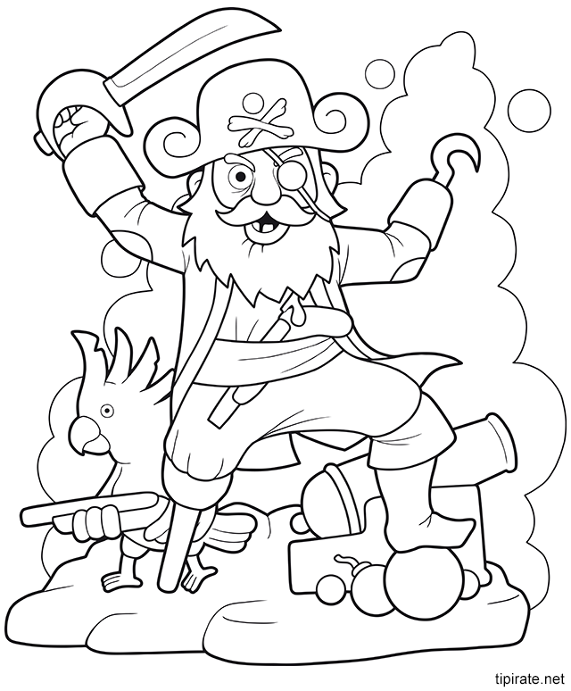 Dessin à Colorier Le Capitaine Des Pirates Pirate