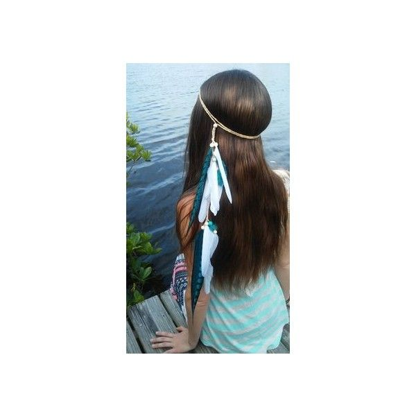 Feather Headband Indian Headdress Native American Hippie Liked On Polyvore
