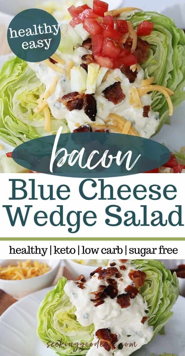 Blue cheese Wedge Salad Recipe - the BEST keto salad recipe! Love that you don't even have to chop the lettuce! Make in 10 minutes or less, simple fresh, healthy recipe. Super easy recipe that is a perfect side dish to chicken, pork, beef, even hamburgers. Yum. #salad #bluecheese #wedgesalad #bluecheesewedge #lowcarb #lowcarbrecipes #keto #ketorecipes